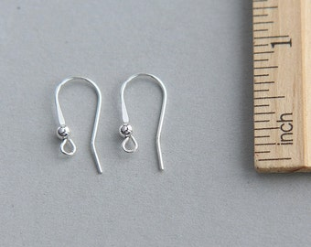 Sterling Silver Earwire, Sterling Silver Round Hook Ear wire, Sterling Silver Ball End Ear Wire, 1 pair Earwire
