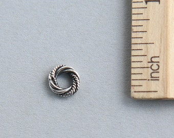 925 Sterling Silver twisted wire ring, Sterling Silver Love Knot, Oxidized Wire Ring, Sterling silver wire ring connector, 8mm ( 1 piece )