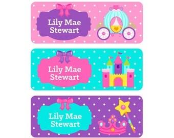School Labels, Princess Name Labels, Waterproof School Labels, Personalized School Labels, School Labels, Girl, Princess, Castle, Fairy Tale