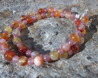 Carnelian Agate and red Aventurine Strawberry Quartz Necklace for a kid