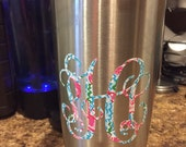 Lilly Pulitzer Inspired Monogram Patterned  Monogram Decal Sticker for Yeti