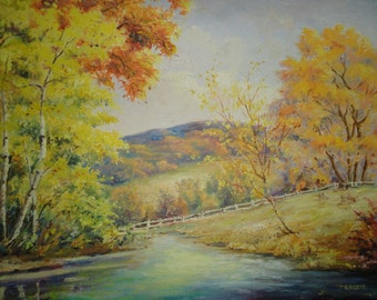 Vintage Original Signed Acrylic Landscape Painting-Country Rural-Trees-Textured