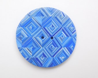 Blue Diamond Design Polymer Clay Button, 35 mm round sewing button, large 1 3/8 inch single button