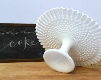 Fenton Hobnail Cake Stand - Vintage White Milk Glass Pedestal - Dessert Display - Ruffled Edge - Wedding Cake