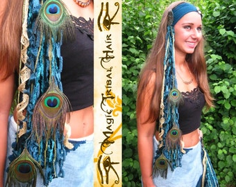 PEACOCK YARN FALLS Mermaid costume accessory Tribal Belly Dance belt tassel Fantasy peacock feather hair extension Larp mermaid hair piece