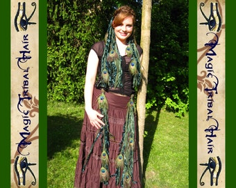FANTASY ELF COSTUME Belly dance fairy combination Cosplay garb 1 x peacock feather yarn hair fall extension 2 x peacock hip tassel clip