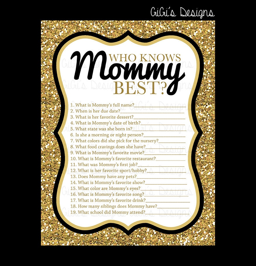 Baby shower game Who knows Mommy best Black by GiGisDigitalDesigns