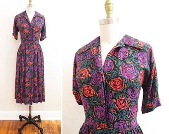 Vintage 1950s Dress | Abstract Rose Print 1950s Day Dress | small - medium | 5D008