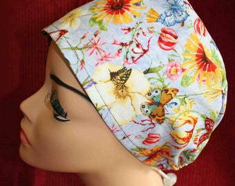 SALE... Butterflies and Flowers Cap (biker/chemo/surgical)