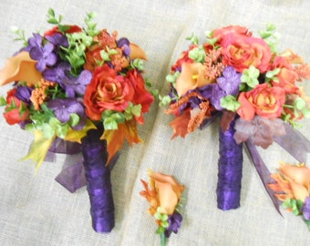12 piece Wedding flower set: Purple Plum Orange Bridal Bouquet with Bridesmaid, corsages, boutonnieres Coral Reef Sage Green Calla Lily Rose