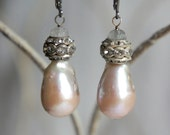 Vintage assemblage earrings baroque pearls large pearl earrings bridal earrings assemblage jewelry F287-by French Feather Designs.