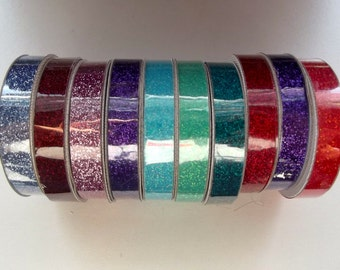 Glitter tape by Tazzel, .375 inch X 4 ft. (9.5mm X 1.2 mm), ribbon, for planning, scrapbooking, card making, blue, red, green, purple, teal