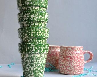 SALE 30% OFF! Gerald E Henn - Green Spongeware Herb Planters - Set of 4