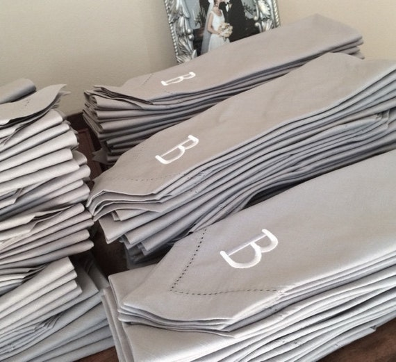 bulk monogrammed wedding cloth napkins by