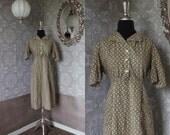 Vintage 1940's 50's Cotton Day Dress Medium