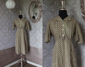 Vintage 1940's 50's Cotton Day Dress Medium