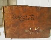 Vintage wood photo album snap shots polo players 1930s