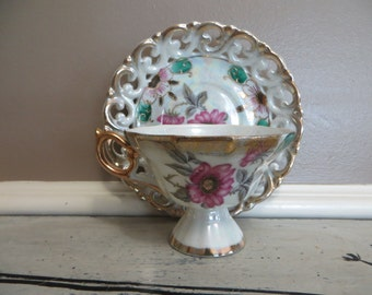 Tea Cup Wales Tea Cup Floral Teacup Iridescent China Teacup Porcelain Tea Cup Flowers Tea Cup Vintage Teacup Gold Trimmed