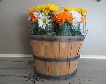 Rustic Apple Basket Woven Basket Storage Basket Storage Container Farmhouse Basket Industrial Basket Shabby Decor