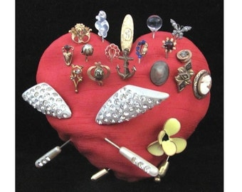 Vintage Heart Full of 20 Stick Lapel Hat Pins Rhinestone Faux Pearl Enamel Cameo Abalone Glass Flowers 5.50 Each STEAL