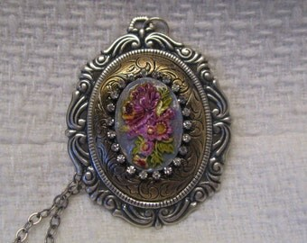 Victorian Style Sterling Silver Plated & Antique Brass Hand Painted Floral Cameo Necklace, Vintage Style, Rhinestone