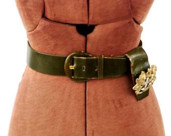 Vintage 1950's By Michel Dark Olive Green All Leahter Coat of Arms Medialon High Waist Novelty Belt S