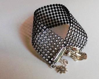 Bling Crystal Black Thick Rhinestone Silver Charm Bracelet