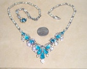 Vintage Bogoff Tear Drop Necklace With Light Blue Rhinestones Rhodium Plated 1940's Signed Jewelry 4137