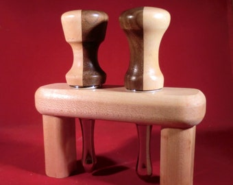 Set of Two Bottle Stoppers made from Maple & Black Walnut w/ stand
