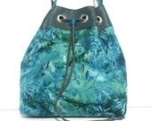 Bucket Bag/ Small Leather and Fabric Bucket Bag/  Adjustable Shoulder Strap