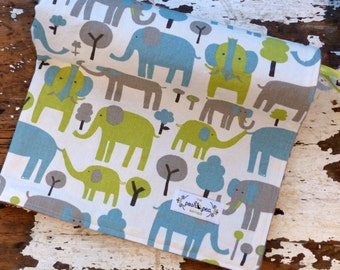 Trunk Tales Elephant Minky Baby Blanket - Chenille or Minky - Baby Boy or Girl