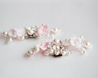 White and Pink Flower Bridal Shoe Clip- Swarovski Crystal and Rhinestones Shoe Clips  - Wedding Flowers Shoe Accessory