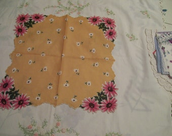 Pink Floral Handkerchief Vintage Flowered Hankie Pink Daisies on Gold