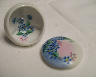 Tiny Trinket Box Hand Painted Forget-Me-Nots Circa 1981