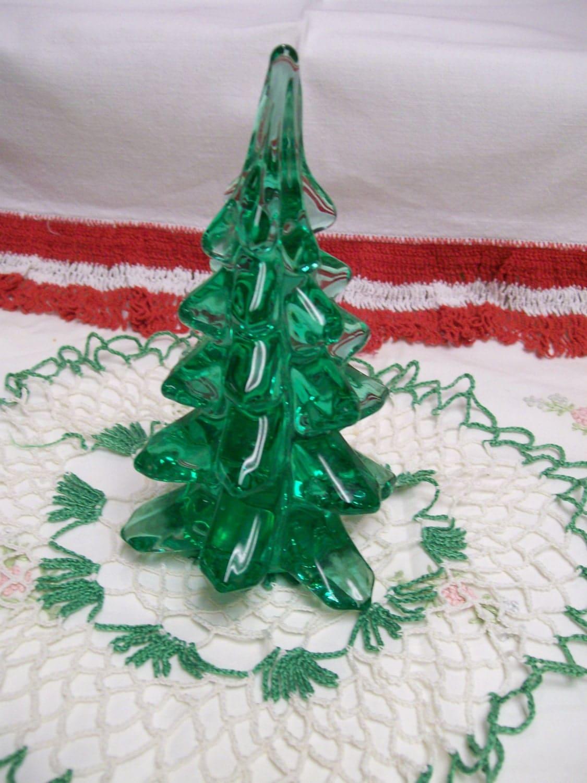 Glass christmas tree vintage holiday decoration green