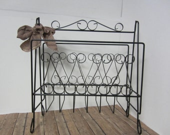 Vintage Magazine Stand, Black Wrought Iron Magazine Rack, Magazine Holder, Floor Magazine Stand, Crafts, Newspapers, Book Rack