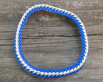 Blue Rubber Half Persian 4 in 1 Chainmaille Bracelet