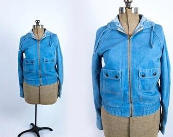 Vintage 1970s Medium Light Wash Denim Hooded Zippered Bomber Jacket Size M