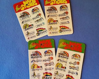 Vintage 1980s Prismatic Name Stickers, two packs, Danny or Dennis
