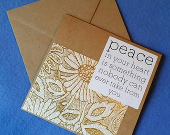Peace in Your Heart - Square Blank Card - Recycled Handmade Paper & Kraft Paper