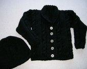Cable Cardigan and Hat