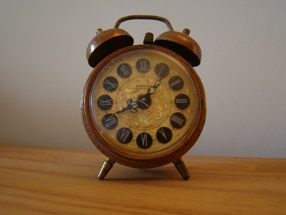 vintage Swania alarm clock in copper case from Germany - mechanical movement