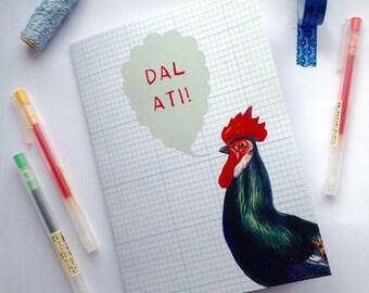 SALE - Sel - A5 Notebook Dal Ati! Welsh Keep Going Cockerel Bird Eco Friendly