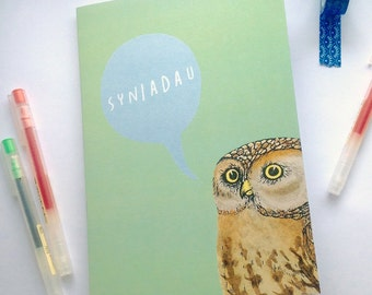 SALE A5 Notebook Syniadau Welsh Ideas Green Owl Blank Eco Friendly