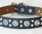 Leather Dog Collar, Navy Blue with Sky Blue Rivets, Custom sizes Medium to Large, Great for a boy dog or one with blue eyes
