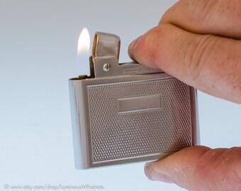 Working Chrome Silver Match French Butane Pocket Lighter (refillable)