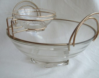 Mid Century Modern Glass Chip and Dip Bowl with Brass Metal Holder