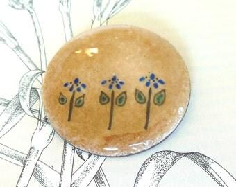 Vintage S. Desilets Enamel Brooch Modernist Tan Flowers Blue Green 60's (item 231)