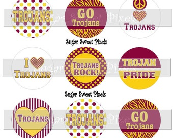 INSTANT DOWNLOAD Maroon Yellow Gold Trojans School Mascot  1 inch Circle Bottlecap Images 4x6 sheet
