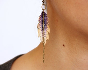 Purple Faux Leather Feather Earrings, Hand Painted Earrings, Gifts for Her, Dangle Earring